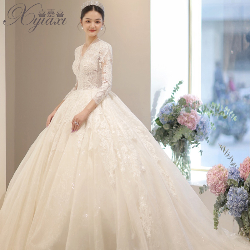 Autumn and winter long-sleeved ancient main wedding dress 2020 new bridal temperament drag tail Mori super fairy dream luxury
