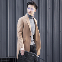 Khaki camel Korean version of the new double-sided cashmere coat mens wool slim single-breasted high-end business tide