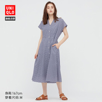 Uniqlo womens fancy plaid flared dress (short-sleeved summer temperament French with inside) 442697