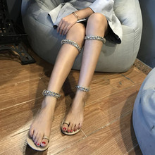 Sandals Female Summer 2019 New Metal Chain Two-toe Bandage Rome Flat-soled Sandals on Thai Holiday Beach