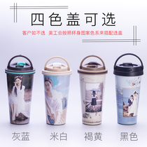 Print photo insulation cup personality diy fashion trend mens net red gift vacuum stainless steel coffee cup