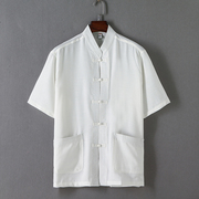 Chinese male short sleeved summer old Chinese Hanfu Linen Shirt male grandpa cotton loose solid coat.