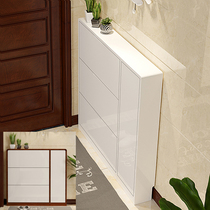 Shoe cabinet Ultra-thin dumper household entrance door narrow entrance hall 17cm white large capacity paint rack saves space