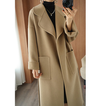 Autumn and winter 2021 new high-end double-sided cashmere coat womens long loose thickened 100% woolen coat