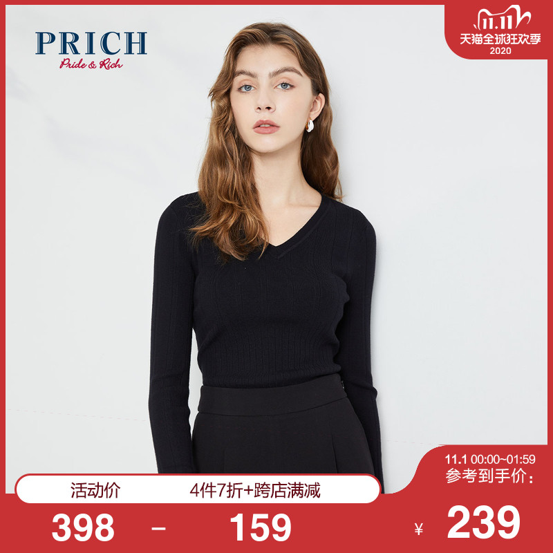PRICH 2020 Winter New Fashion Solid Color V Collar Womens Knitwear PRKWA4920Q