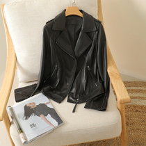 2021 Super Explosive Autumn and Winter Sheep Leather Leather Women Fashion Black Small Suit Lapel Jacket Jacket