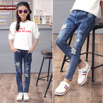 Childrens clothing girls autumn and winter trousers baby outer wear pants 2019 New childrens base plus velvet thickened jeans