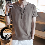 The summer male costume cotton, linen short sleeved T-shirt jacket men wear Hanfu modified Zen lay clothes size