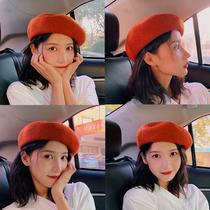Hat female autumn and winter hair beret Korean version wool octagonal painter hat ancient Yinglun pumpkin bud hat tide