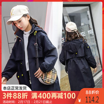 Girls  Western Wind coat in the long section of the 2020 spring and autumn new 12 childrens fashionable jacket childrens spring dress 15 years old Yan