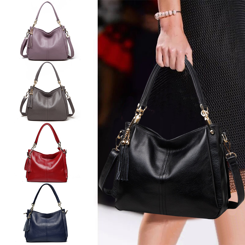Women's Bag 2019 New Baidan Single Shoulder Bag Large Capacity Handbag Soft Leather Women's Bag Large Leather Slant Bag