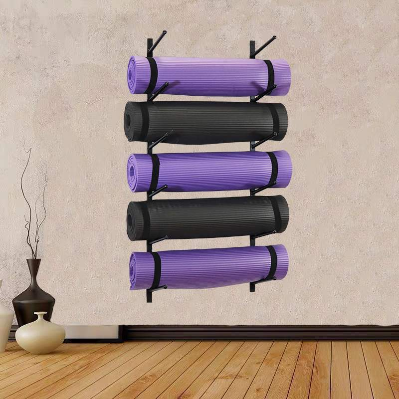 Wall hanging multi-layer yoga mat storage layer frame simple high-capacity gym yoga column foam shaft roller placement rack