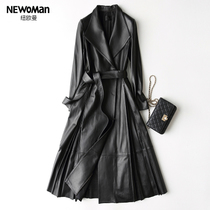 Fall winter niuouman Europe and Sheepskin leather trench coat