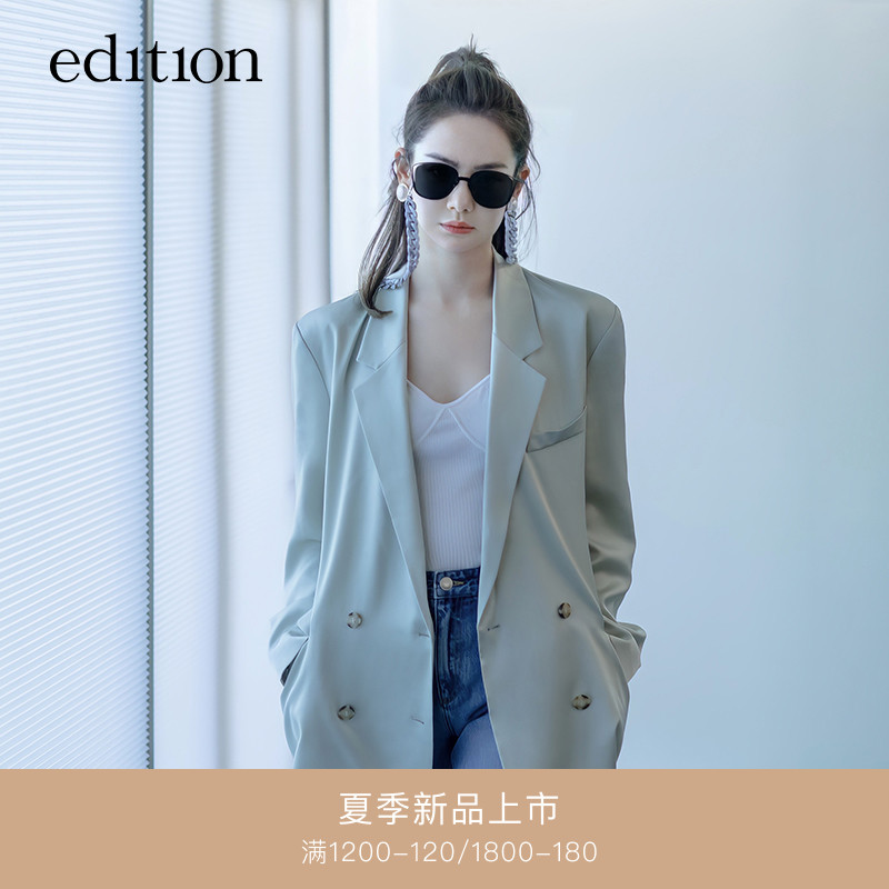 Qi Wei with the edition blazer women 2021 spring new acetate drooping casual suit high-end sense
