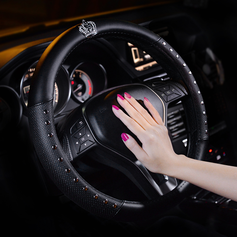 Four seasons ice silk car steering wheel cover universal leather female Korean cute Mercedes-Benz Volkswagen Honda set summer