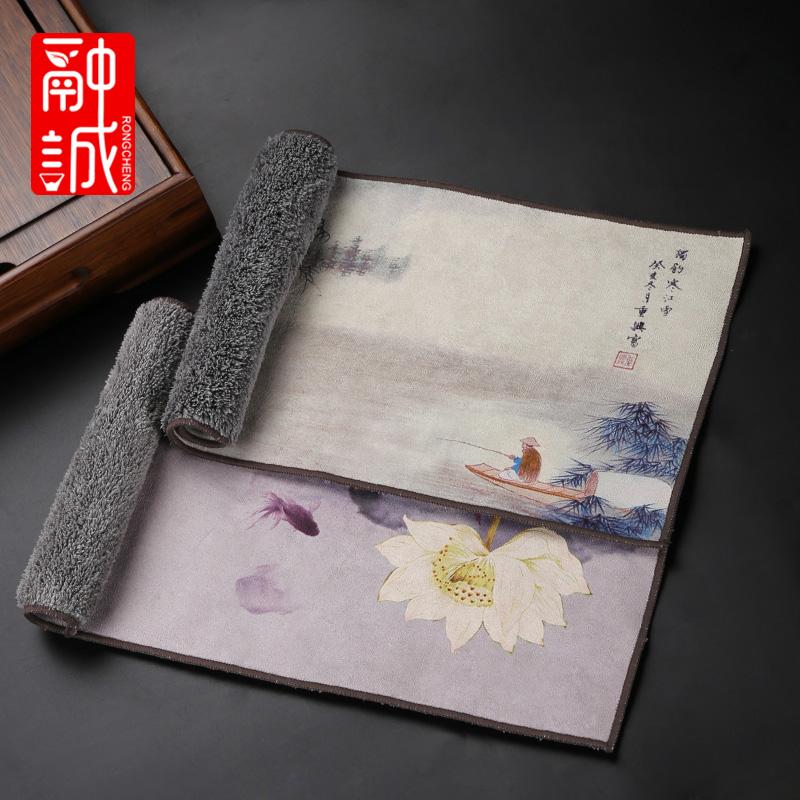 Tea towel high-grade kung fu tea set towel water-absorbing plus thick tea cloth painted Zen tea tablecloth tea table several matcha cloth