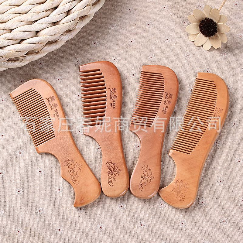 Piao Ai Creative Peach Wood Comb Small Wood Comb Box