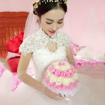 Pregnant woman married drag tail Princess simple European and American winter wedding dress