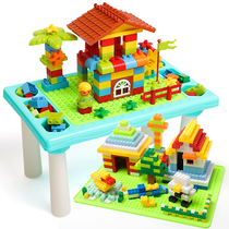 Childrens building blocks table multi-functional learning baby game table patch puzzle boy girl plug-in toy table children