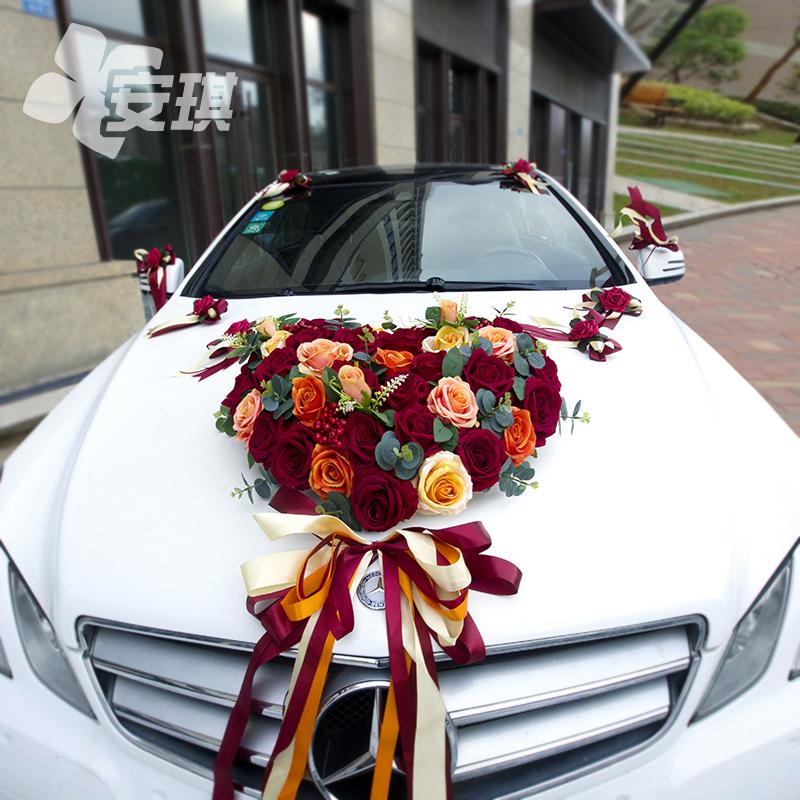 Simulated rose main knot wedding head flower decorative suction cup set Chinese wedding team set creative red orange wedding