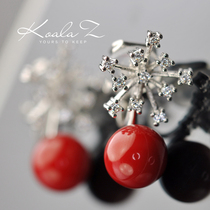 New Year Spring Festival exquisite cute snowflake red bead Earrings ear clip temperament Lucky red ear-free hole female Korea Japan