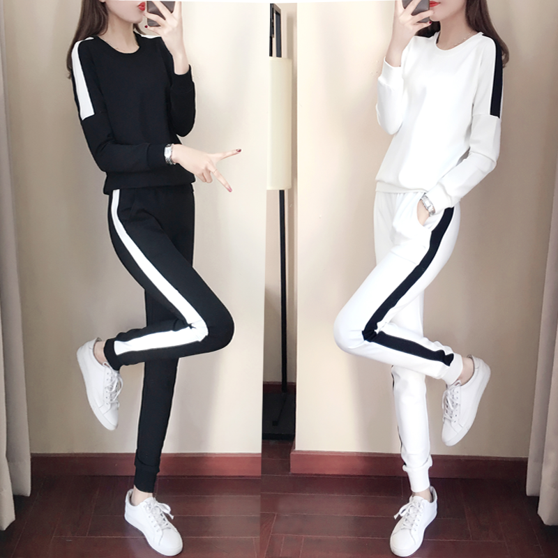 Hong Kong autumn and winter plus velvet plus thick leisure sports thick cotton set womens fashion Korean version of the round collar with a two-piece set of womens tide