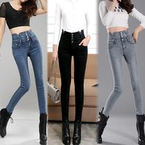 Stretch high waist skinny-size slim slimming spring feet pants