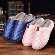 [a] winter season cotton slippers male female plush leather soled shoes slip waterproof warm home confinement