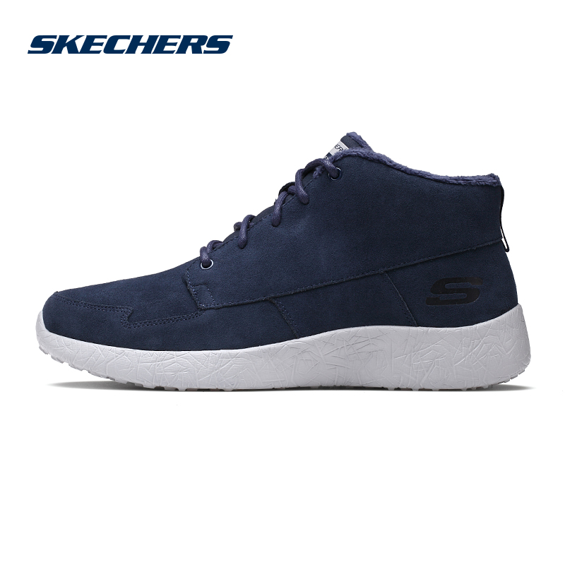 Skechers trending stitching sports men's shoes plus velvet comfort middle shoes 666017