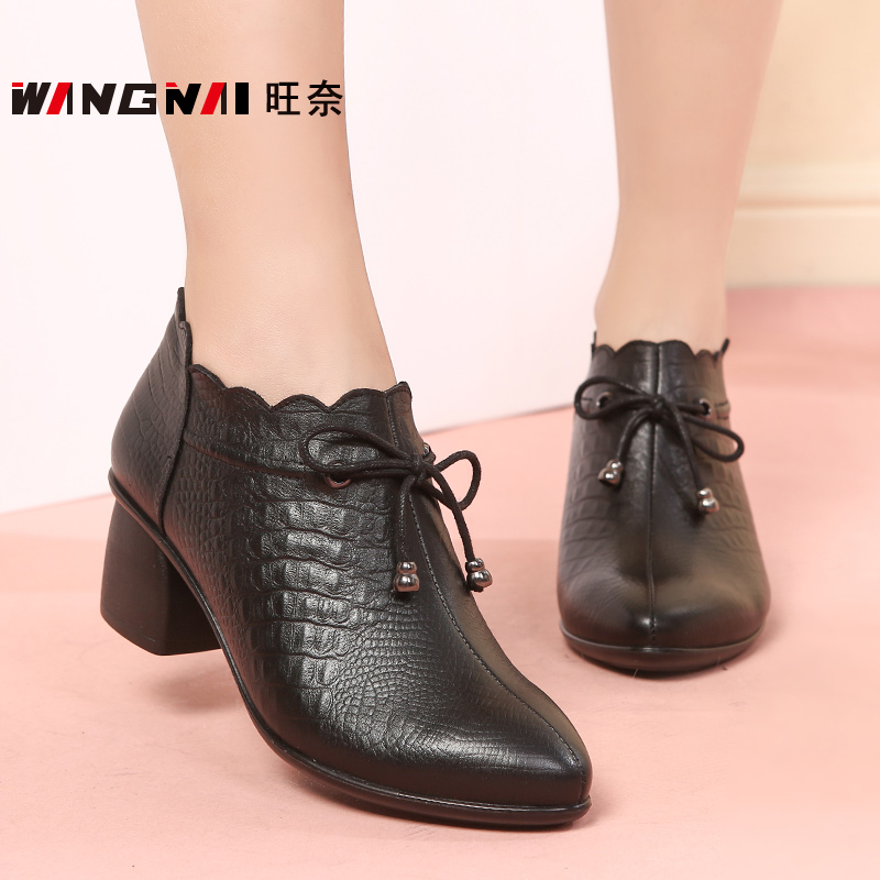 2018 autumn new middle-aged women's shoes leather soft bottom mother shoes single shoes thick with comfortable women's shoes fashion ankle boots