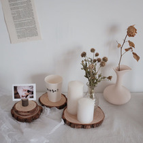 Chic Korean style Nordic Cafe Log cup cushion wood incense Aromatherapy Candle Mat card clip decorative pendulum Pat Props
