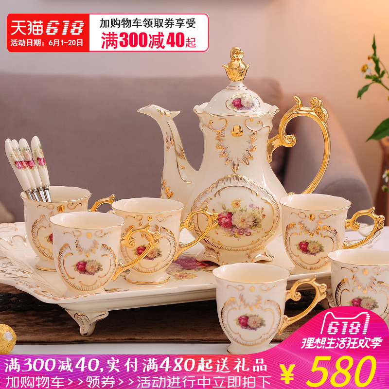 European Coffee Coffee Cup Eight-Head Set Wedding English Ceramic Tea Flower Tea Afternoon Tea Tea Tray