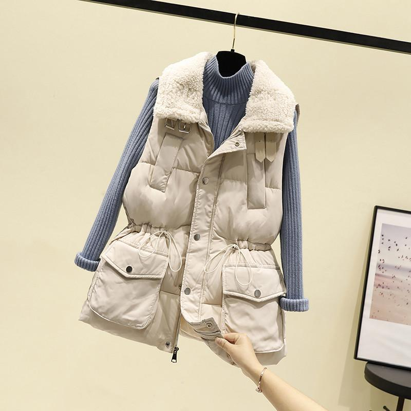 Korean version of down cotton horse clip women autumn and winter fashion outside the mid-length version of the 100-year-old tide outside wearing a thick vest vest jacket