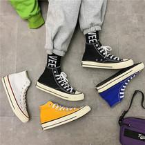 Холст обувь мужская высокоствольная студенческая обувь корейская версия прилива обувь сто модных туфель осенью и зимой плюс бархат высокоствольные туфли на борту обувь