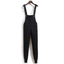 Korean version of the slim black cowboy easing College wind jumpsuit
