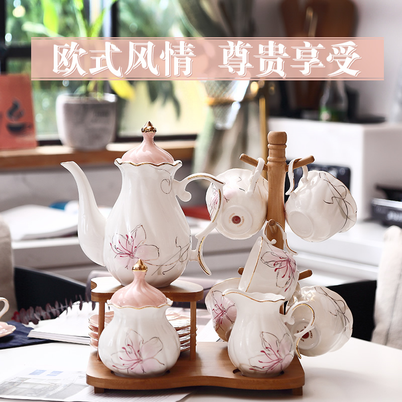 European-style afternoon tea tea sets home coffee cups ceramic teapot set flower cups wedding tea gift