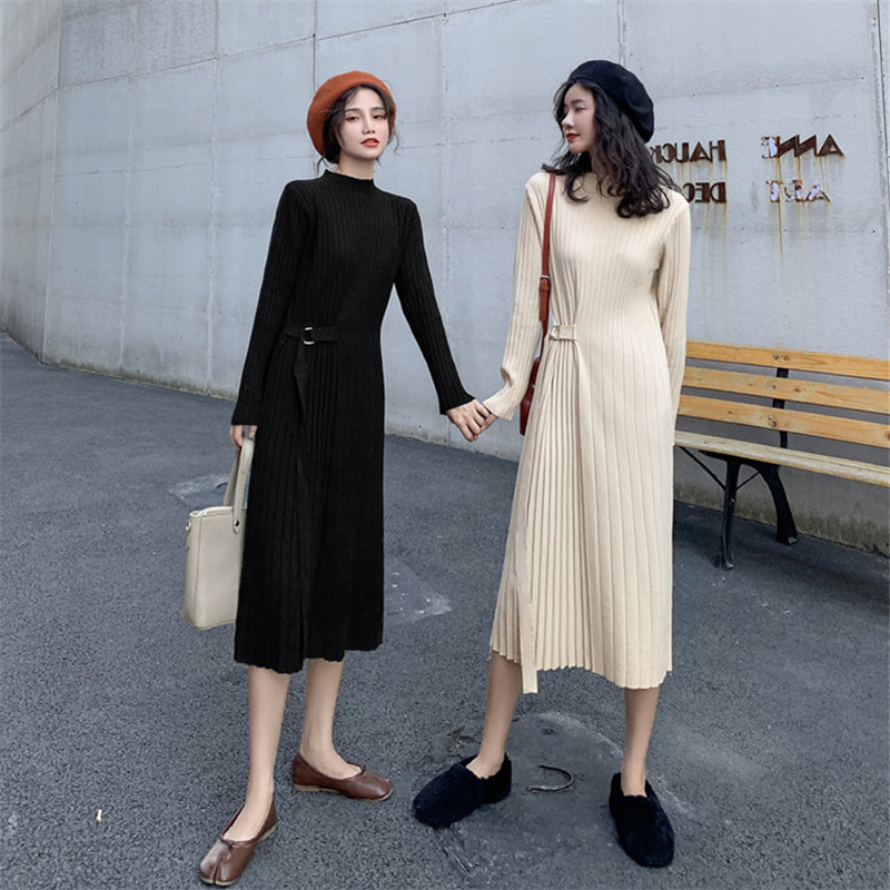 Knitted dress womens 2020 autumn winter new ancient French-style inner-length version of the knee-length version of the sweater skirt