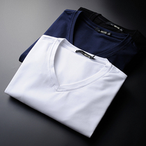 Solid color Korean version of the white cotton bottoming shirt