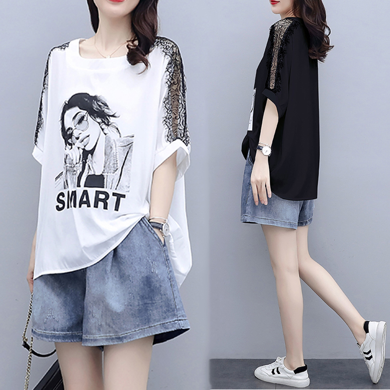 Large size womens 2021 new fashion two-piece suit sports casual shorts fat mm summer dress small spring dress