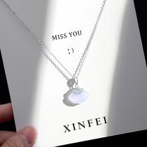 玉髓小扇子项链女夏小众设计感纯银百搭锁骨链2021年新款生日礼物
