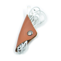 Multi-functional leather mobile phone data cable buckle headphone hub cable receiver windinger