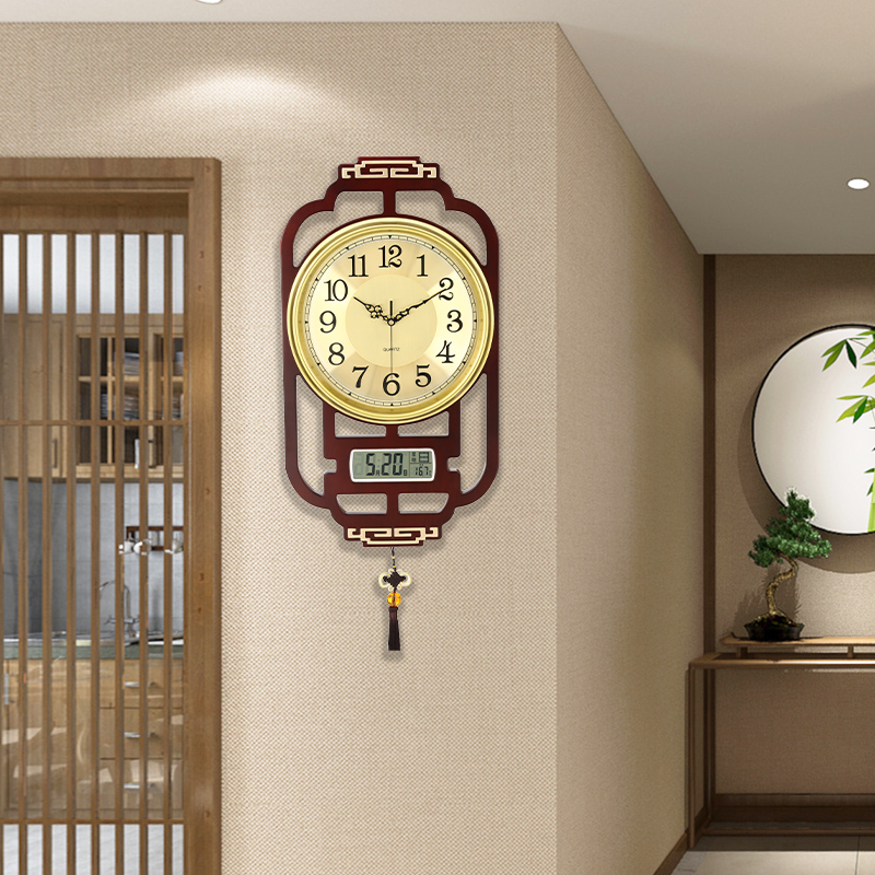 New Chinese wall clock clock 錶 living room home fashion luxury simple solid wood hole-free wall creative decorative clock