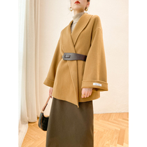 Double-sided cashmere coat womens 2020 winter new medium-length version of the small hair loose cape Hepburn wind coat