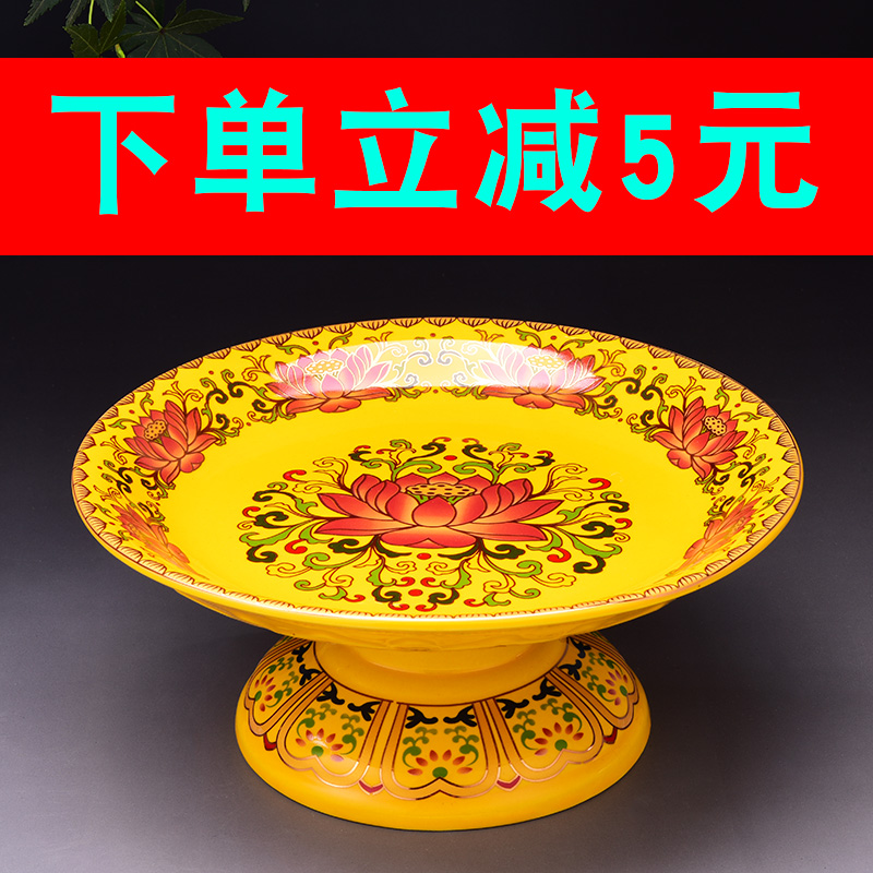 Tributes offered by tray households for fruit trays before Buddha and for Lotus, Gongpan and God of Wealth on Buddha