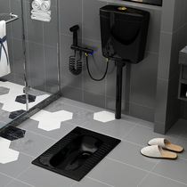 Germany Nordic black ceramic squat toilet tank toilet toilet squat toilet before and after the water with s elbow