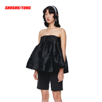 SHUSHU TONG2020 spring and summer New jacquard adjustable tube top flat mouth Burr a-type doll blouse female