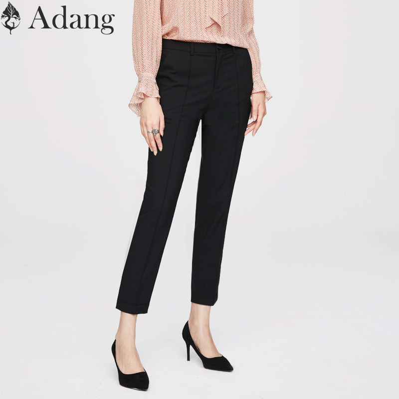 (Wool) Adang autumn winter professional trousers womens sleth slim casual trousers black pipe pants