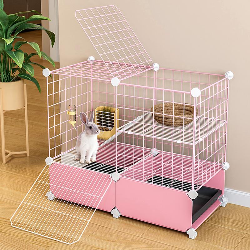 Кролик клетки домашнего использования анти-распыления мочи новый дом кролик гнездо очень большой склад домашних животных внутри кролика клетки очистки навоза с туалетом