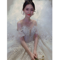 French light main wedding dress 2021 new temperament bride heavy industry tail high-end luxury court princess Xia