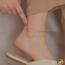 Advanced sense anklet female 2021 new net red foot rope blessing word foot chain 18k gold anklet transport leg chain does not fade